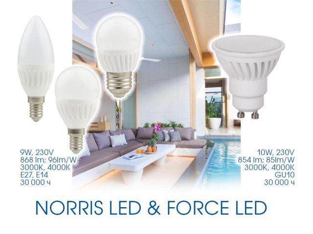NORRIS LED и FORCE LED светят повече. МНОГО повече!