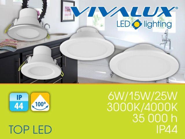 Влагозащитени LED луни за вграждане със степен на защита IP44 - TOP LED 6W, 15W, 25W