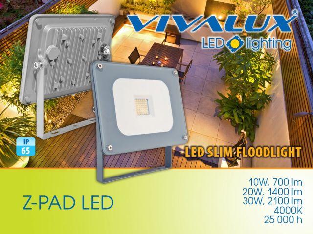 Нови компактни, ултратънки и с модерен дизайн LED прожектори Z-PAD 10W/20W/30W