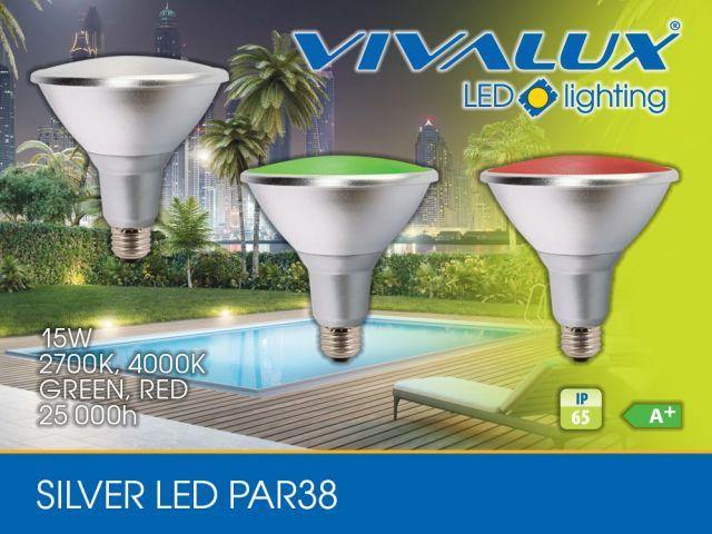 New! Waterproof lamp SILVER LED PAR38 15W E27 IP65