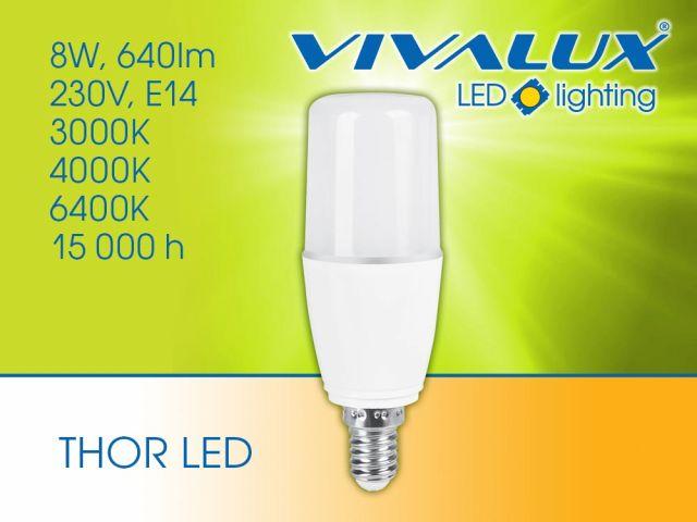 Compact LED lamp with base E14 and power 8W: THOR LED E14