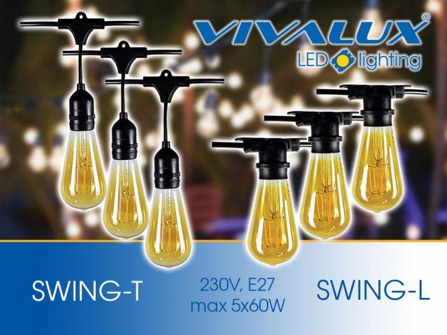 Outdoor lighting strings SWING 5 x E27 IP44
