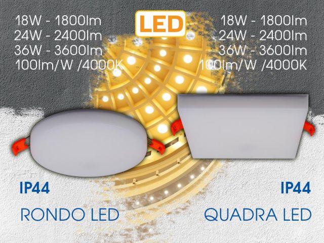 RONDO LED и QUADRA LED – светодиодни панели с висока ефективност