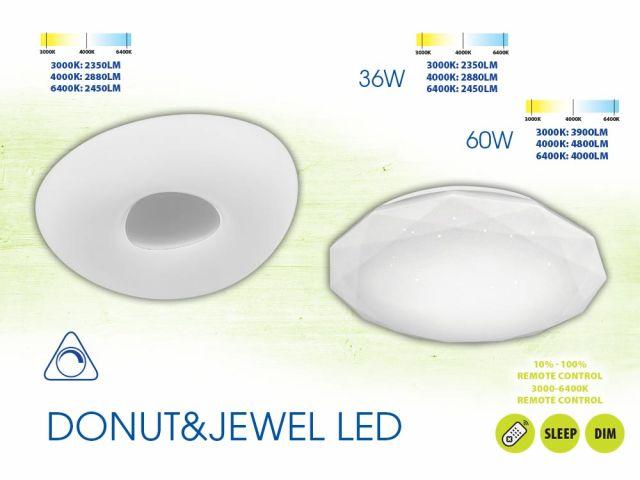 Мултифункционални плафониери DONUT LED и JEWEL LED