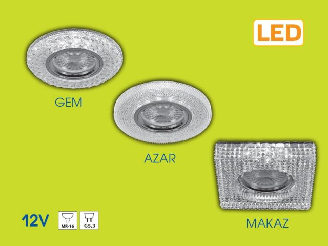 Crystal decorative downlights GEM, AZAR and MAKAZ