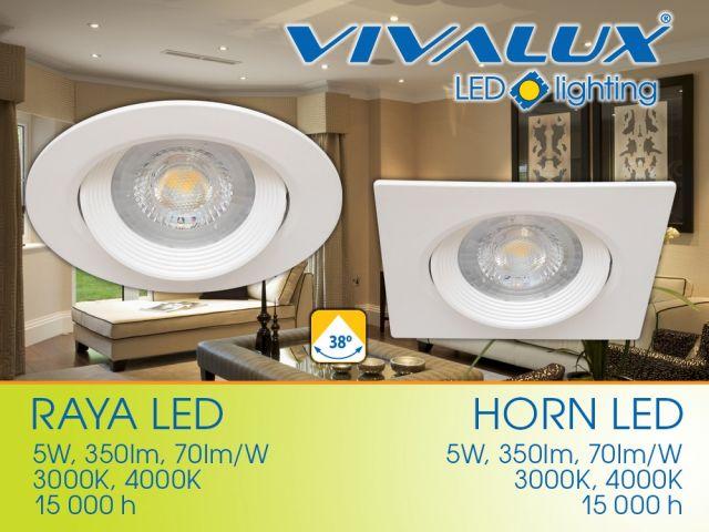 Серия LED луни RAYA LED и HORN LED с ъгъл на светлинния сноп 38°