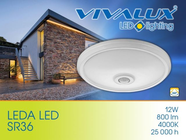 LED ceiling lamp with motion sensor and light control sensors