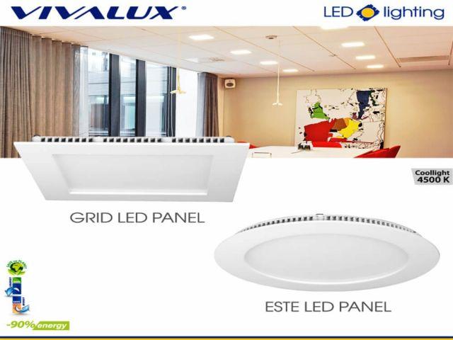 ESTE LED PANEL and GRID LED PANEL - new compact LED panels VIVALUX