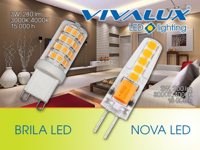 High efficiency and low energy consumption with the new G9 and G4 lamps - BRILA LED G9/NOVA LED G4