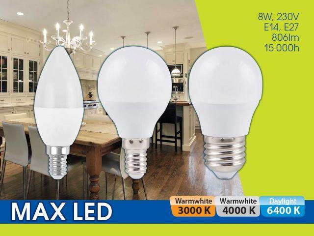LED лампи MAX LED 8W – светят повече на най-достъпна цена!