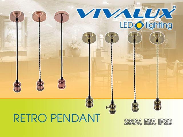 RETRO шик метални пендели VIVALUX с текстилен кабел