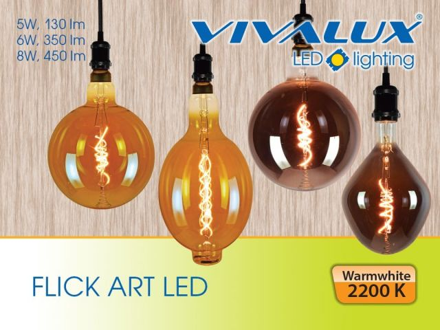 Decorative LED lamps with flexible filament and amber or smoked glass flask
