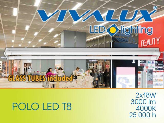 Нискобюджетно осветително тяло POLO LED T8 2x18W (шина   2 LED пури) VIVALUX